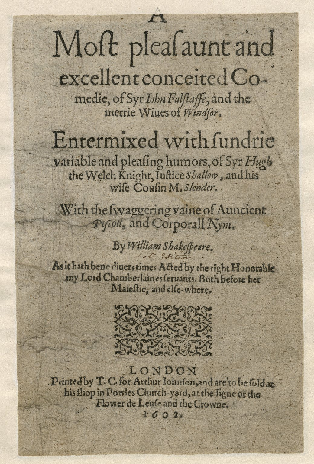 Title page of The Merry Wives of Windsor