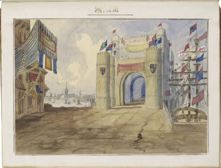 "Watercolor set design for added ""episode"" in Charles Kean's production of Henry V, ca. 1859."