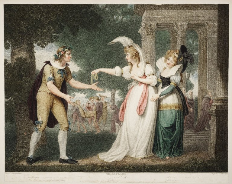 Print of Rosalind and Celia with Orlando (Act 1 scene 2; 1800)