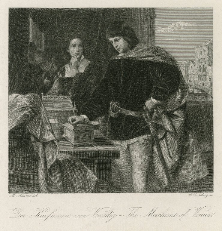 Bassanio examining the caskets (Act 3, scene 2; 19th century)