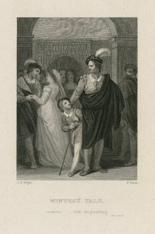 Leontes watching Hermione with Polinexes (Act 1, scene 2; 19th century)