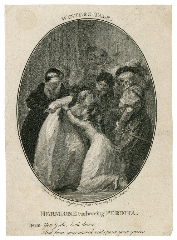 Hermione reunited with Perdita (Act 5, scene 3; 18th century or early 19th)