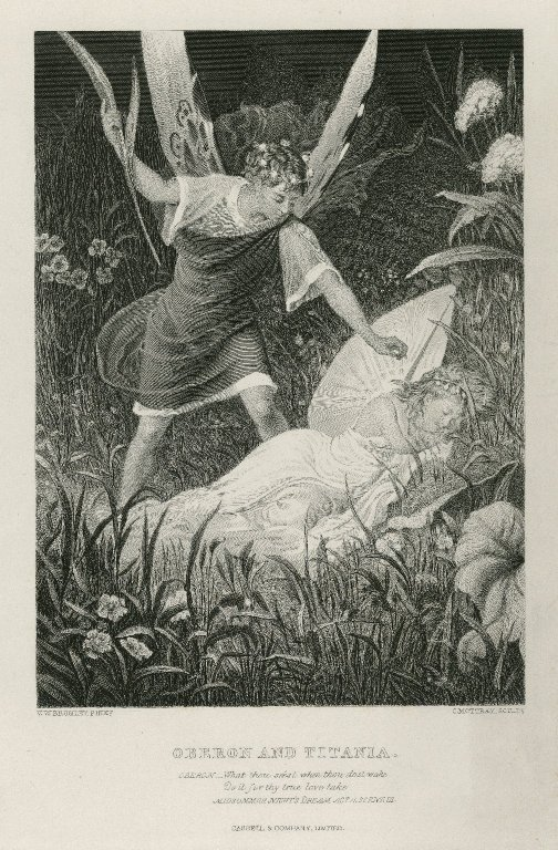 Oberon squeezing potion onto Titania's eyes (Act 2, scene 2; 19th century)