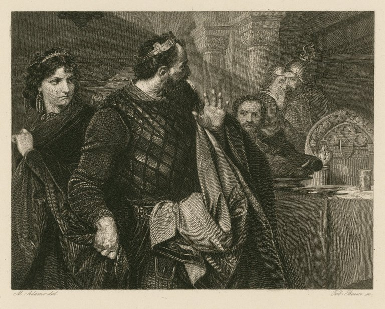 Macbeth sees Banquo's ghost (Act 3, scene 4; mid to late 19th century)