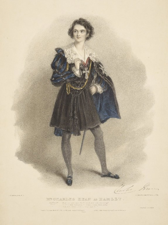 Lithograph of Charles Kean in the role of Hamlet (1838)
