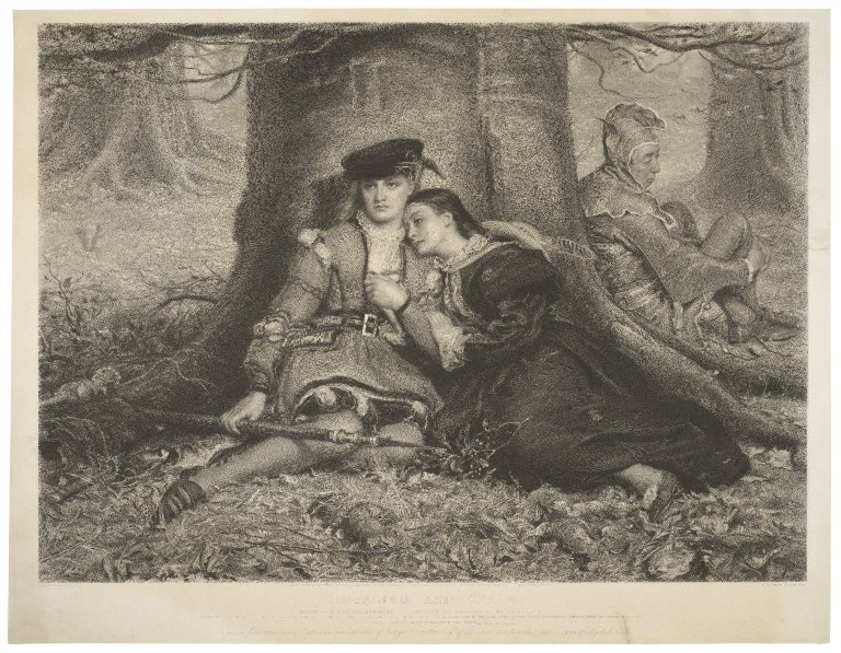 Engraving of Rosalind and Celia with Touchstone (Act 2, Scene 4; 1870)