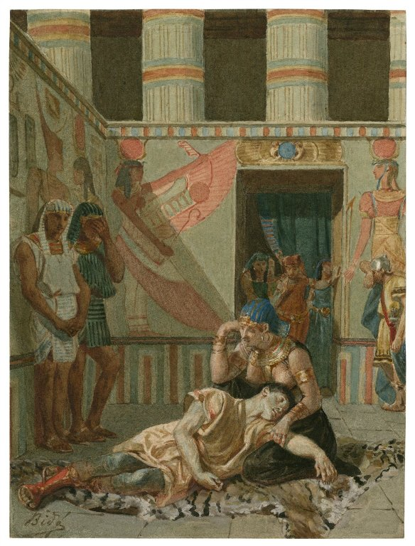 Painting by Alexandre Bida of Cleopatra holding the dead Antony (Act 4, scene 15; 19th century)