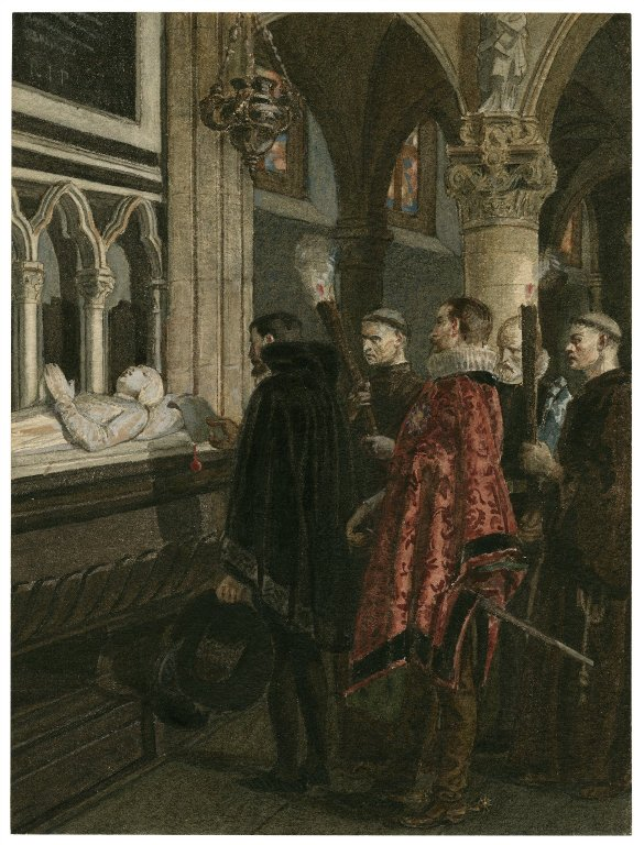 Claudio at the Hero's tomb (Act 5, scene 3; 19th century)