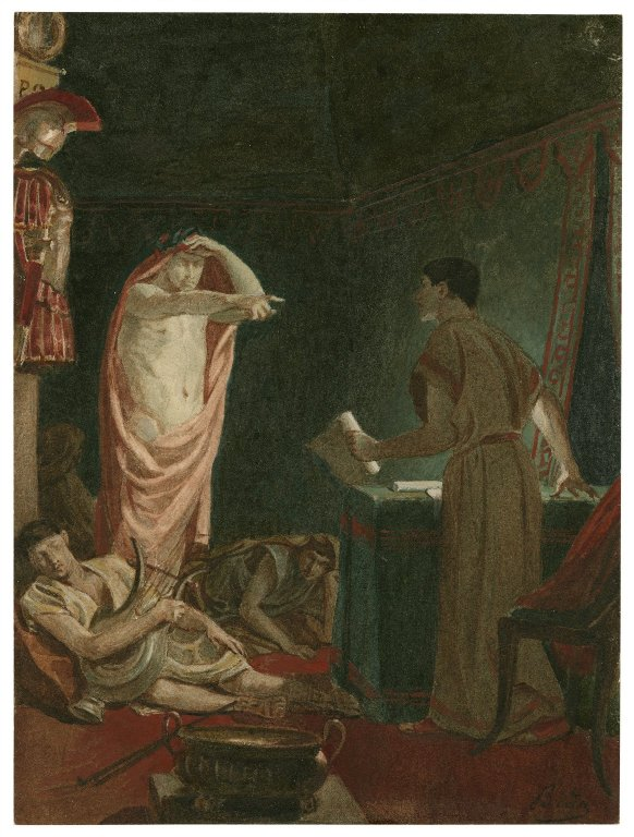 Brutus with Caesar's ghost (Act 4, scene 3; 19th century)