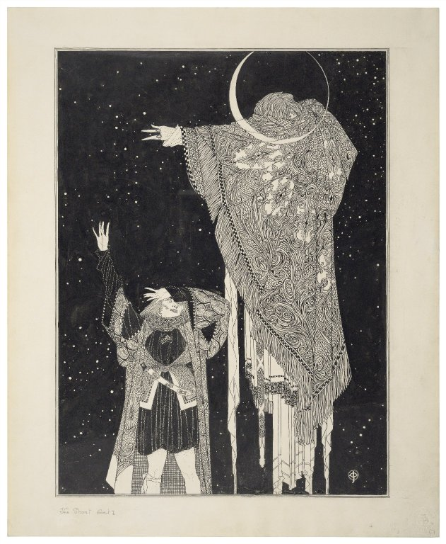 Drawing by John Austen of the Ghost appearing to Hamlet (Act 1, scene 4; early 20th century)