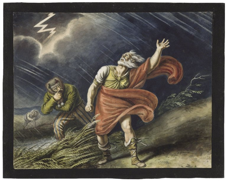 Johann Ramberg painting of Lear and the Fool in the storm (Act 3, scene 2; 1829)