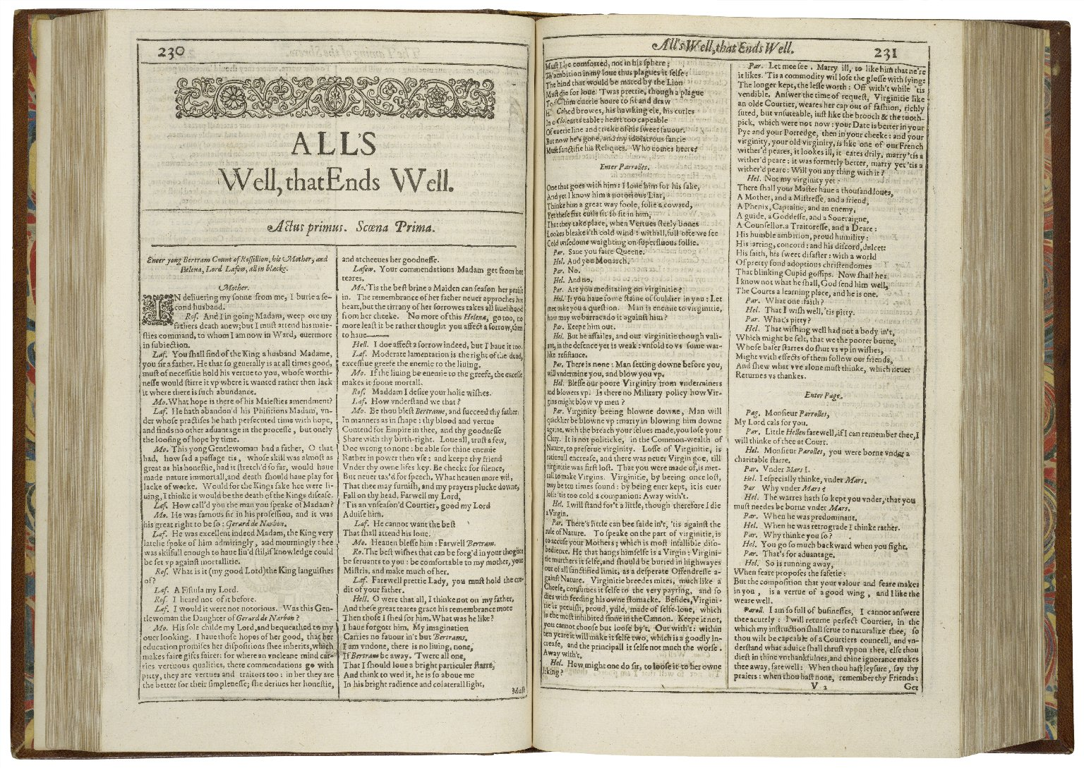 opening pages of the First Folio edition of All's Well That Ends Well
