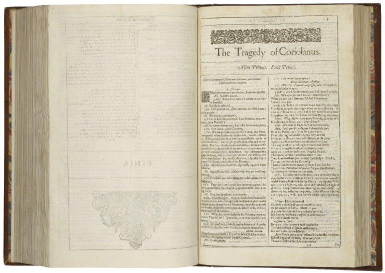 The opening of the First Folio edition of Coriolanus