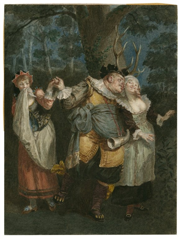 Falstaff with a buck's head (Act 5, scene 5; 19th century)