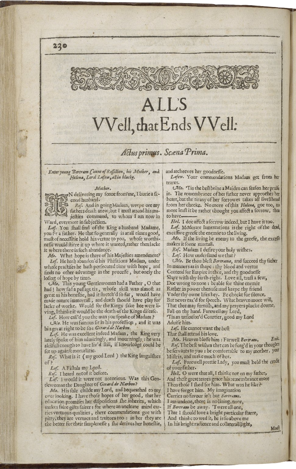 Opening page of the Second Folio edition of All's Well That Ends Well
