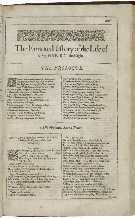 Opening of the Second Folio printing of Henry VIII