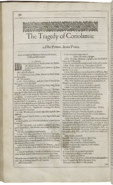 The opening of Coriolanus in the Second Folio