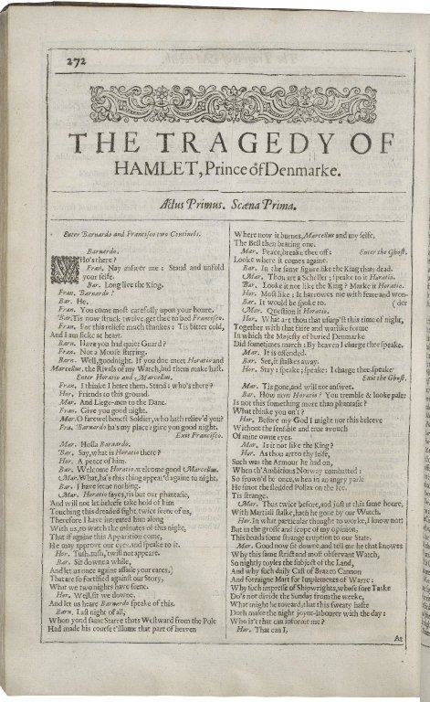 opening of Hamlet in the Second Folio