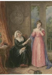 Drawing by John Massey Wright of Helena and the Countess (Act 1 scene 3; late 18th or 19th century)